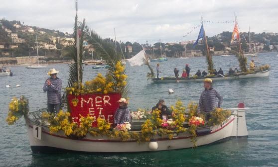 Villefranche-sur-mer Naval Flower Battle boat crew