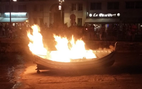 Burning of a fishing boat during the Festival of Saint Peter, Nice France