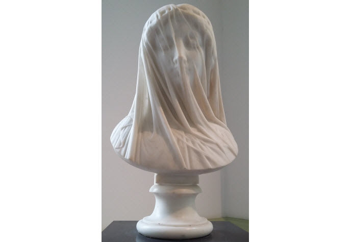 Statue called Femme voilée – Le Silence (Veiled woman – Silence), by Luigi Gugliemi in the Musee des Beaux-Arts, Nice.
