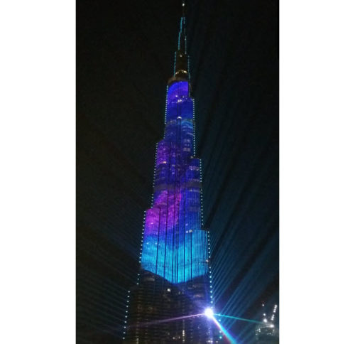 Burj Khalifa light show, Dubai, United Arab Emirates