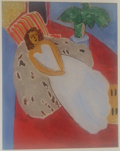 Young woman in white, red background (1946)