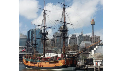 Replica of the HM Endeavour, the ship that brought the first European colonists to Australia.
