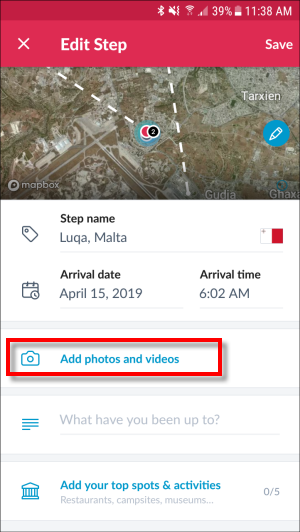 Upload video option