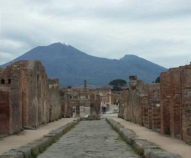 Vesuvius peaks towering over Pompeii