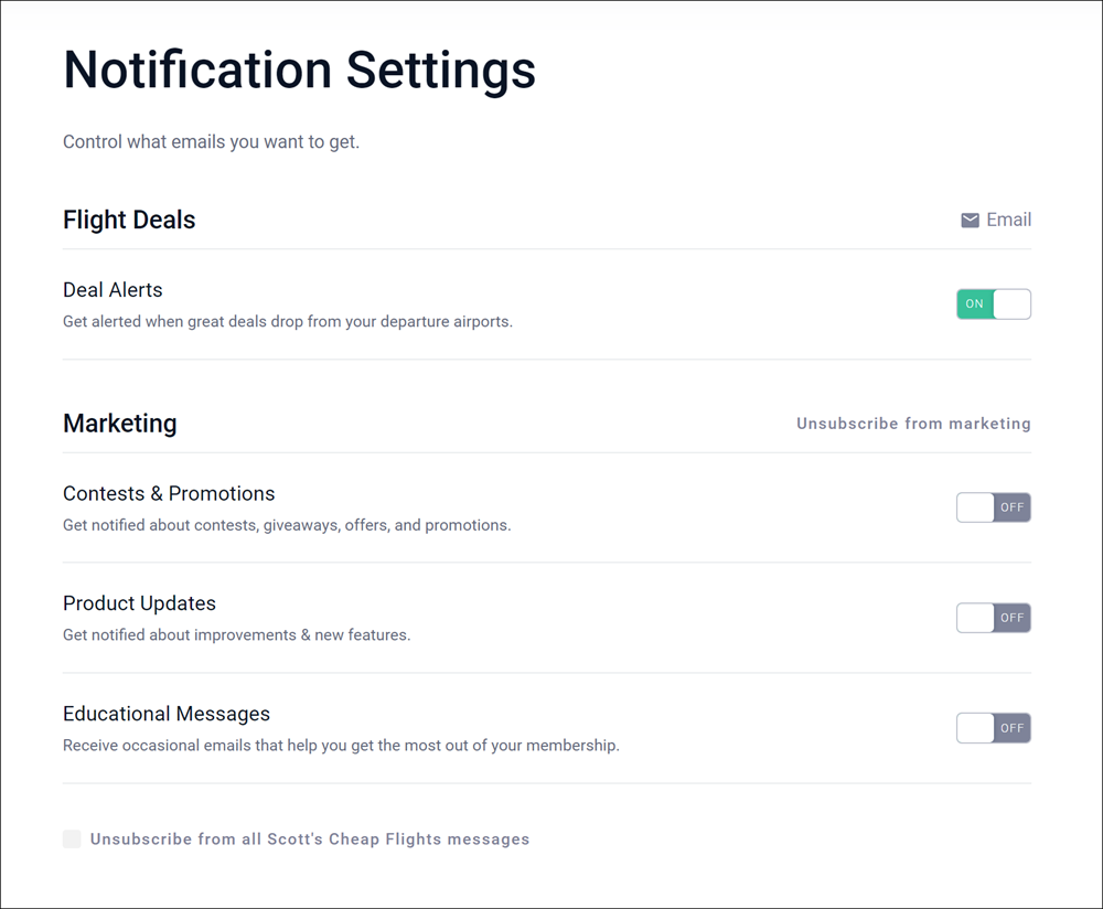 Scott's Cheap Flights Notification Settings
