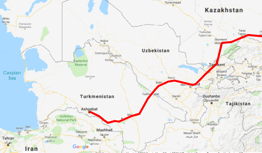Bushby's presumed route to the Iranian border