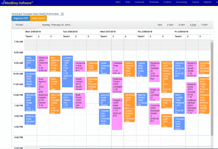 Home Cleaning Business Software - 5 Day Schedule