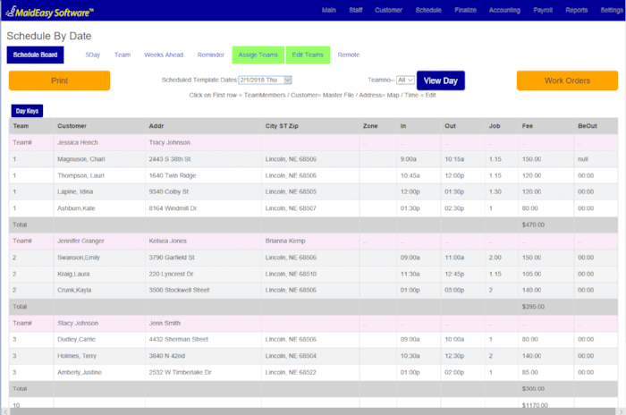 Cleaning Business Software - Schedule: maid service scheduling software