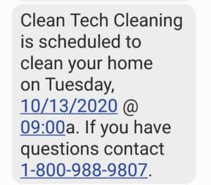 maid scheduling software auto text feature by MaidEasy. The house cleaning business software experts.