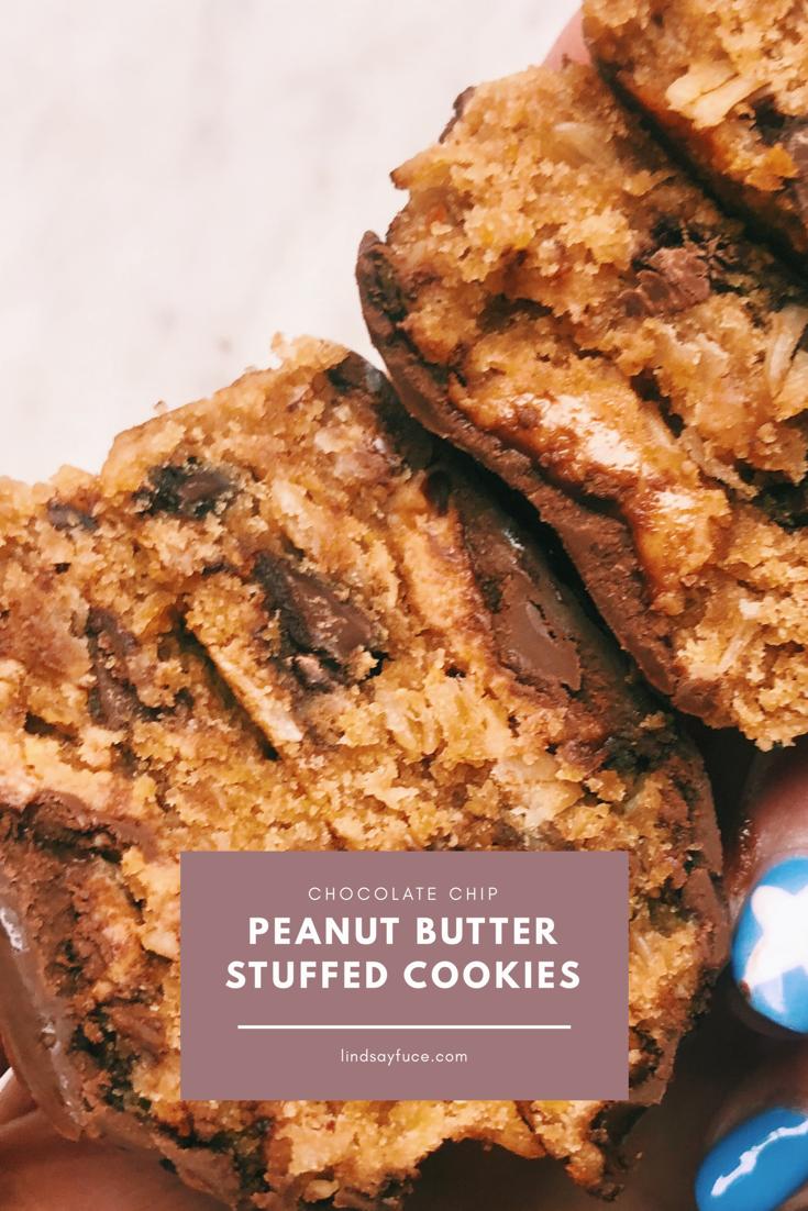 Chocolate Chip Peanut Butter Stuffed Cookies