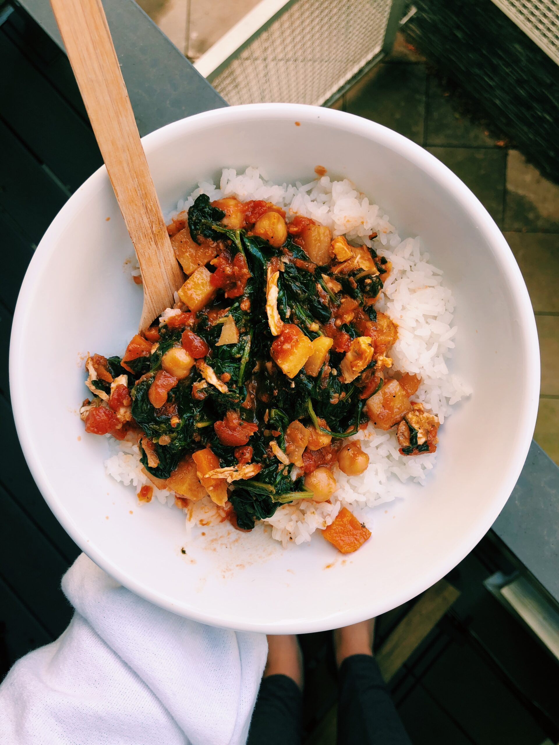 Chickpea Kale and Potato Curry