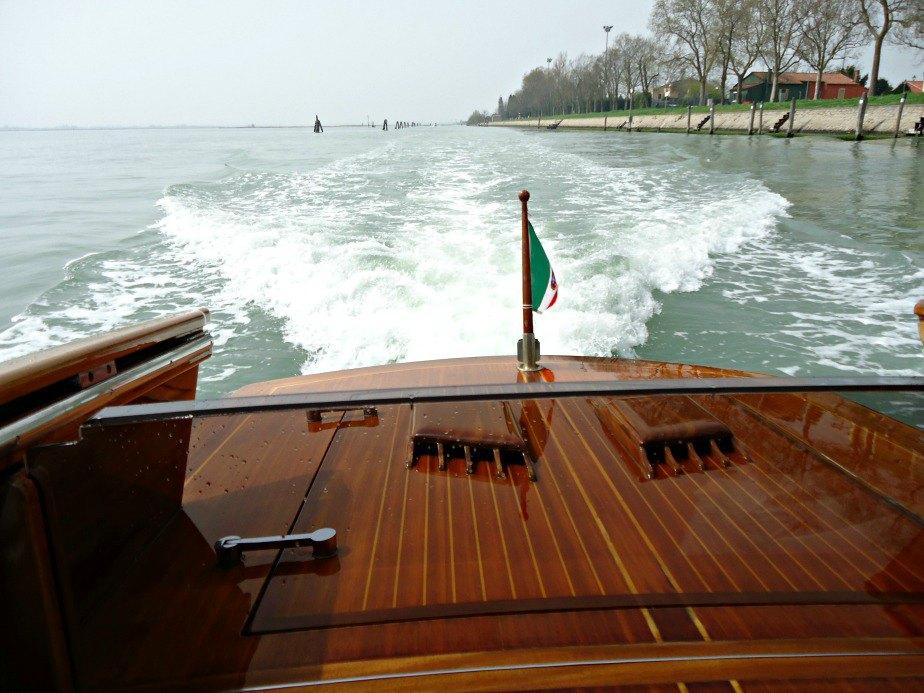 Approaching Burano in a Venetian Water Taxi Venice
