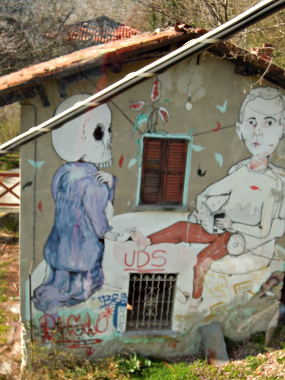 Graffiti near Como to Brunate Funicolare Italy