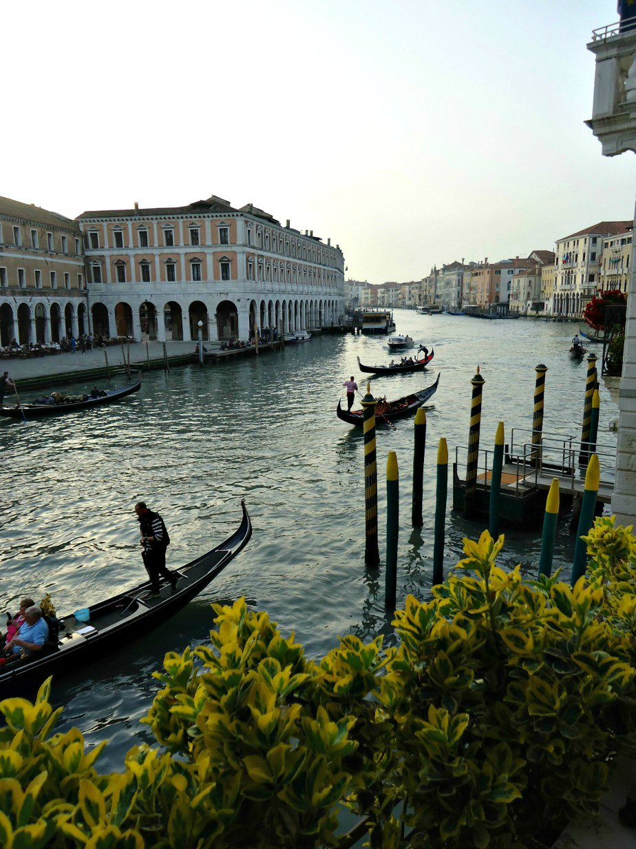 Gondolas Passing the Terrace Al Ponte Antico Hotel Grand Canal Venice