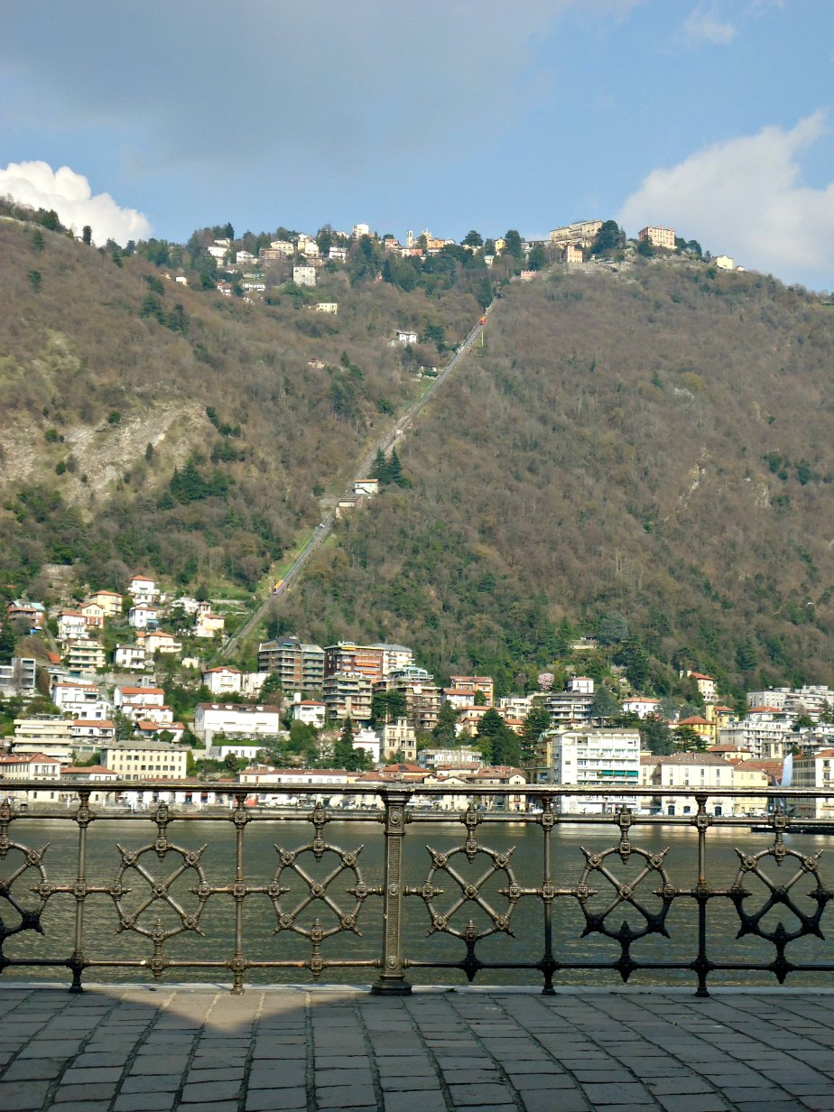 Looking across Lake Como to the Funicolare