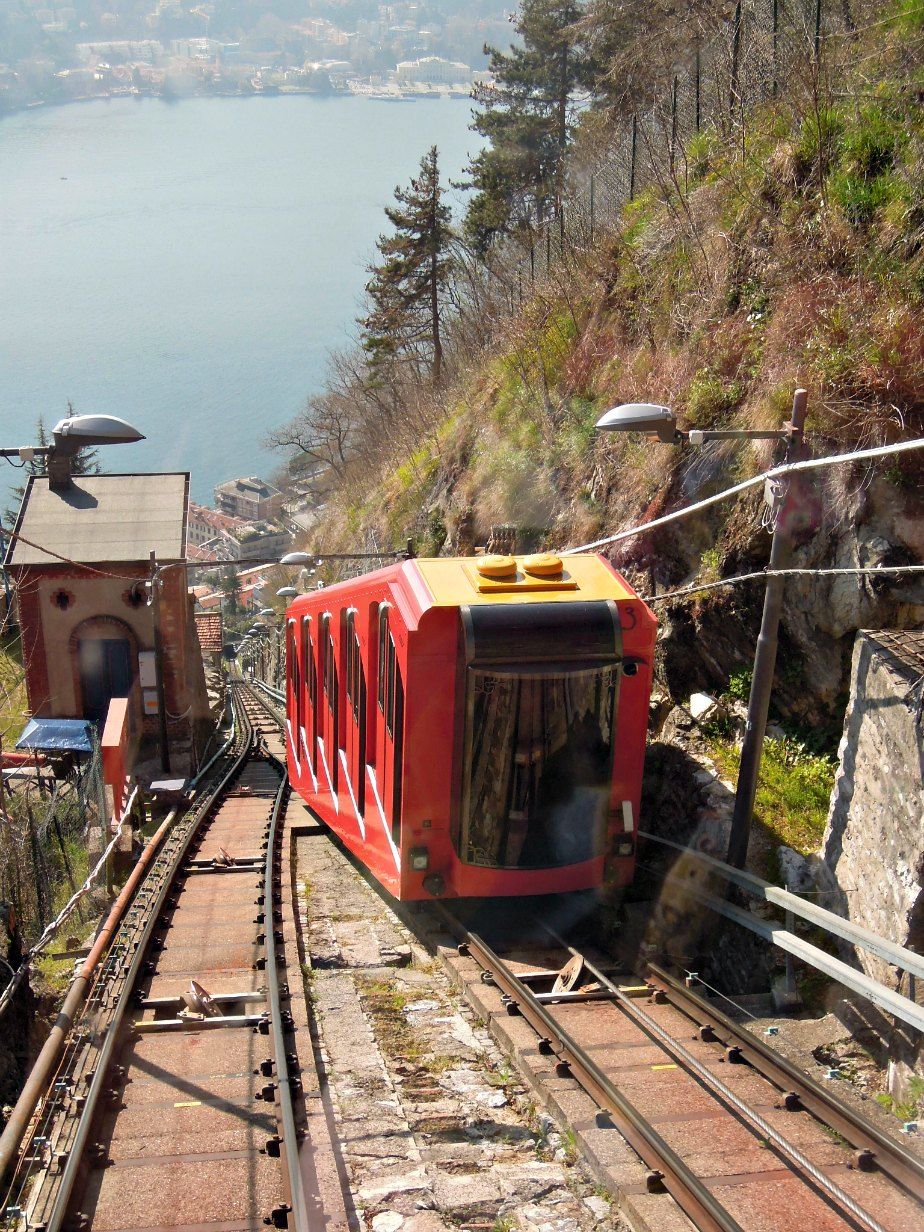 The approaching uphill funicolare carriage Brunate Como Italy