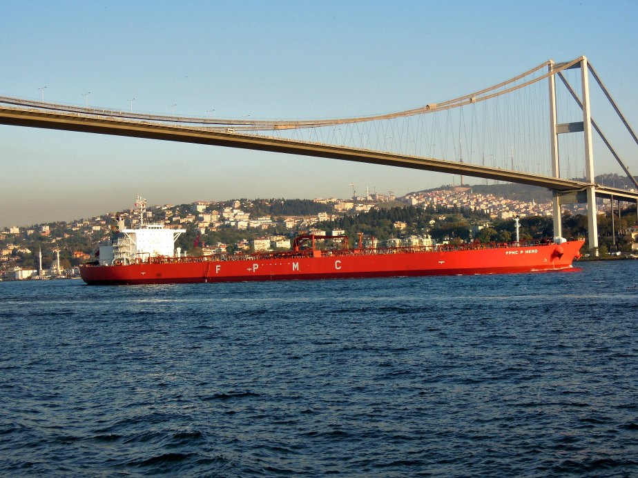 One of Many Ships Going Under the Bosphorous Bridge