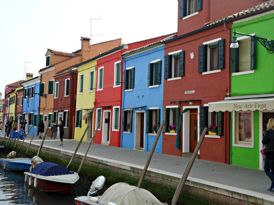 Colourful Houses Along a Canal in Burano Venice