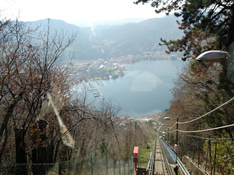 Lake Como from Como to Brunate Funicolare Italy