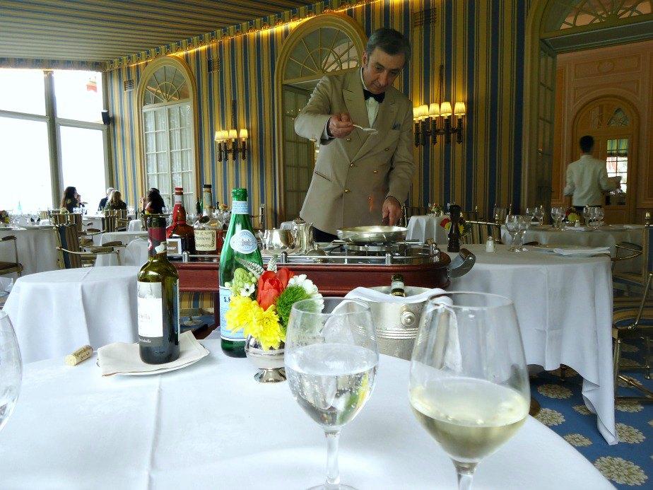 Maitre d' preparing Crepe Suzette at Villa D'Este Cernobbio Lake Como Italy
