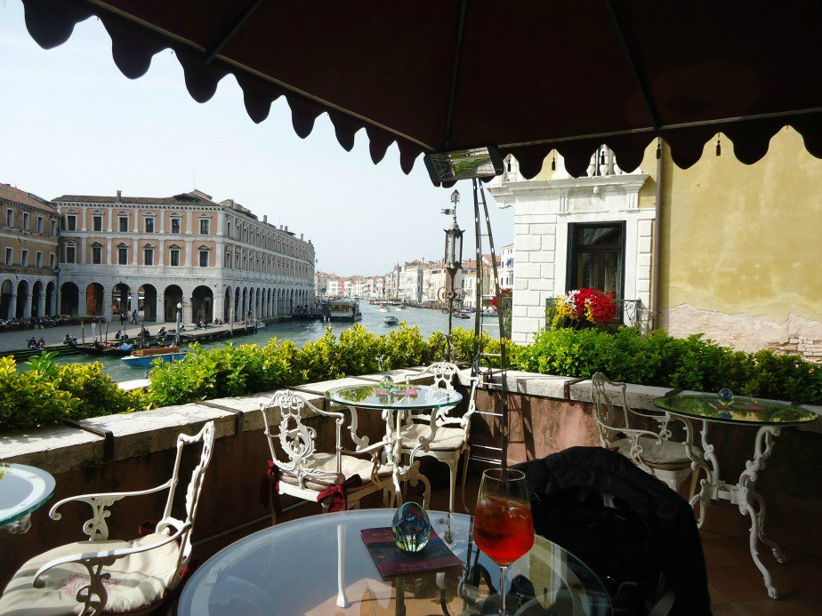 Image of the Terrace at Al Ponte Antico Hotel Grand Canal Venice Italy