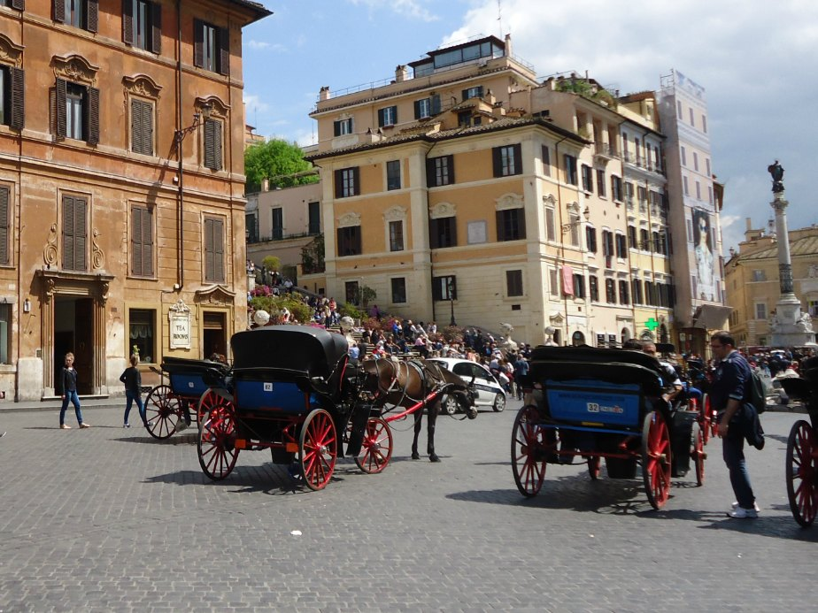 Horses and Carriages in Piazza di Spagna