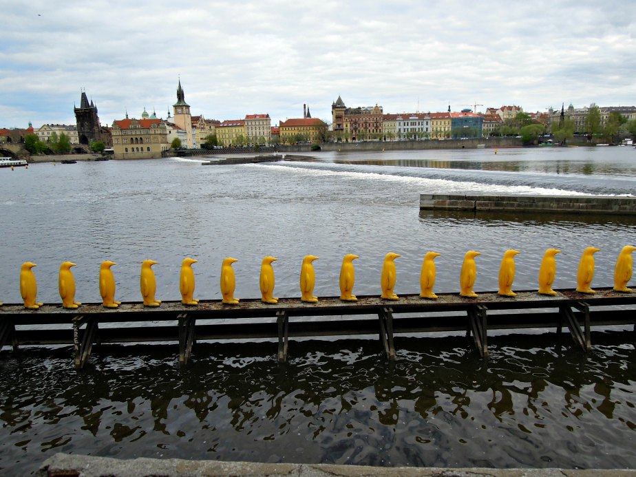 Yellow Penguins by the Cracking Art Group Prague
