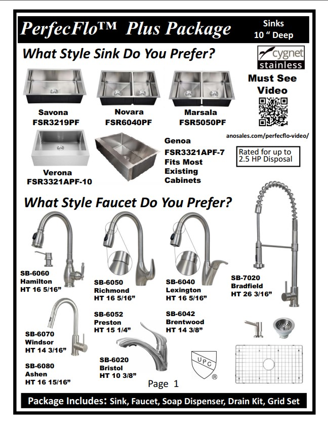 PerfecFlo sinks and packages