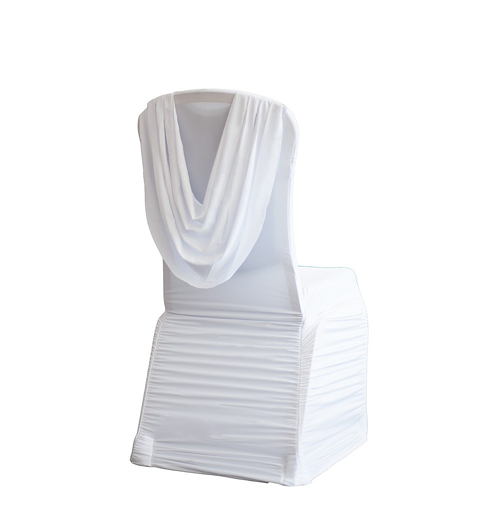 white draped chair cover hire