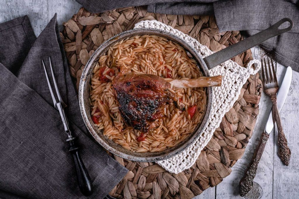 Baked Lamb Shanks With Orzo Pasta
