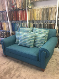 Custom upholstery loveseat.
