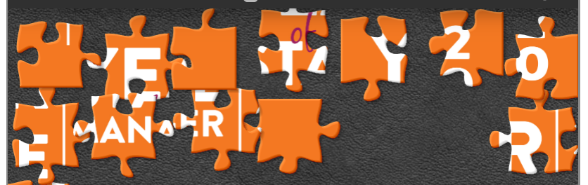 Orange puzzle pieces