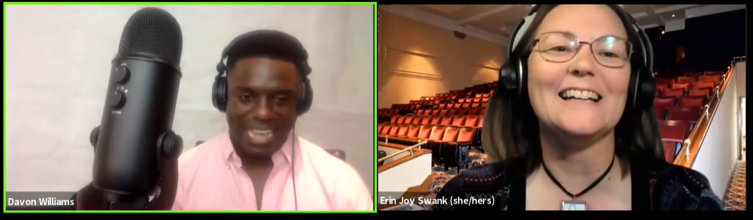 Davon Williams and Erin Joy Swank in a screenshot from Facebook Live through Zoom
