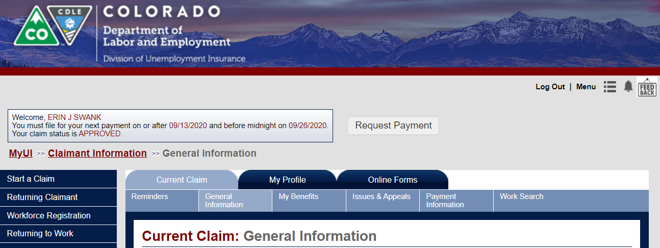 Screenshot of the home screen for Colorado Unemployment's Online System