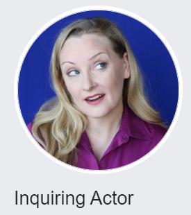 Rebecca Prescott's image as her Inquiring Actor logo