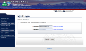 Screenshot of the Colorado Unemployment login for those on PUA