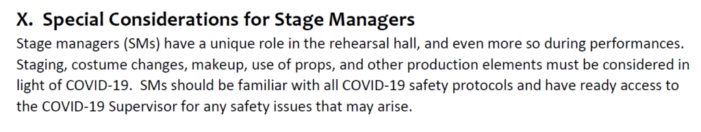 Screenshot of the Stage Manager section of the AGMA/SDC Return to Stage Playbook