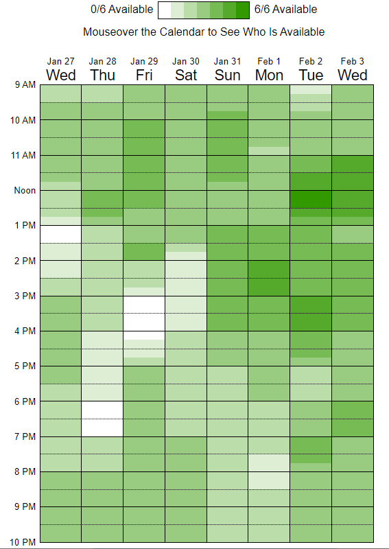 Screenshot of a When2Meet calendar, with varying shades from white for zero availability to darker green as more attendees are available for a given timeslot