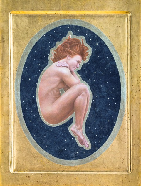 Catherine Lucas Egg Tempera painting with Gold Leaf