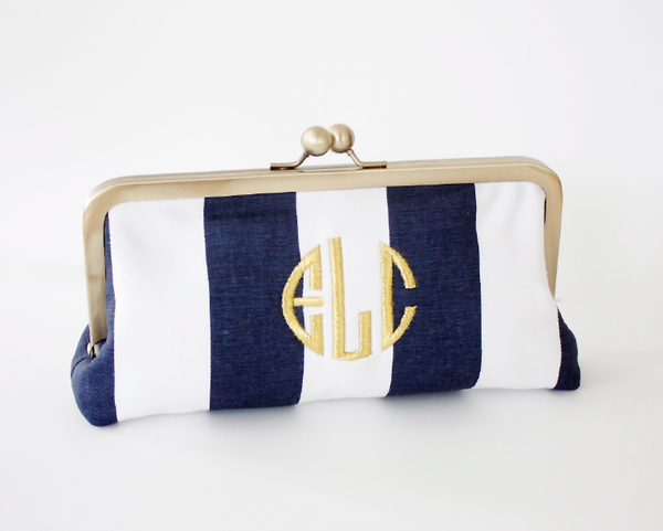 OatmealLace Navy Stripe Monagram Clutch