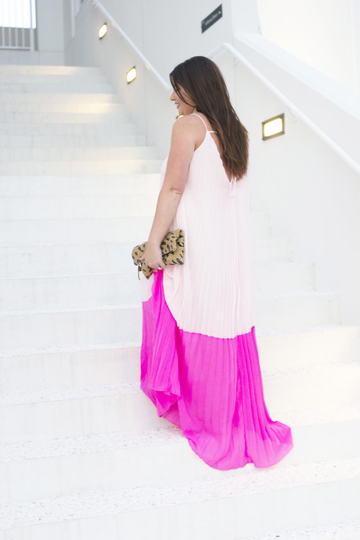 Pink Pleat Colorblock Maxi