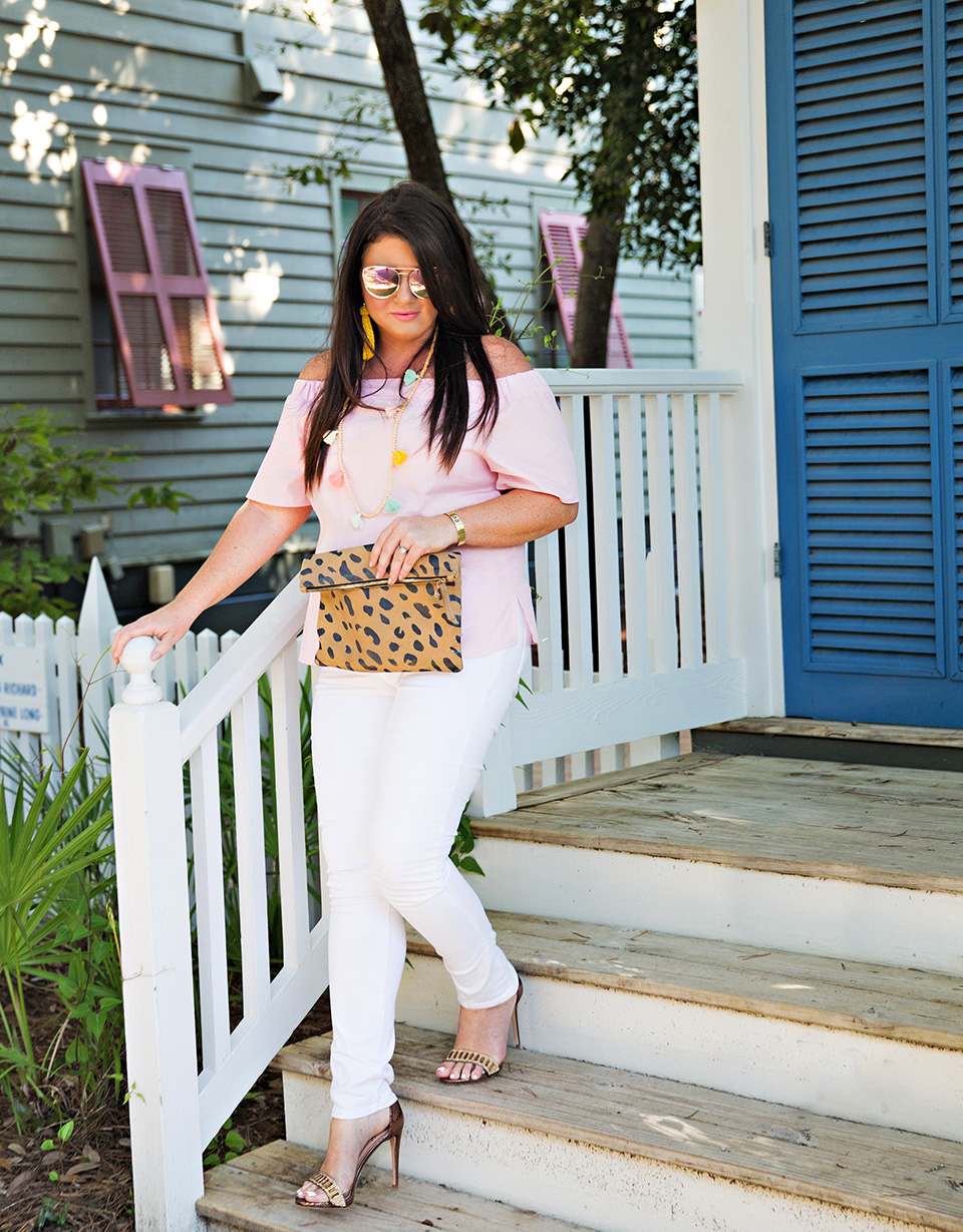 Jami Ray 30A Street Style White Jeans Pink Off the Shoulder Seaside Florida 15
