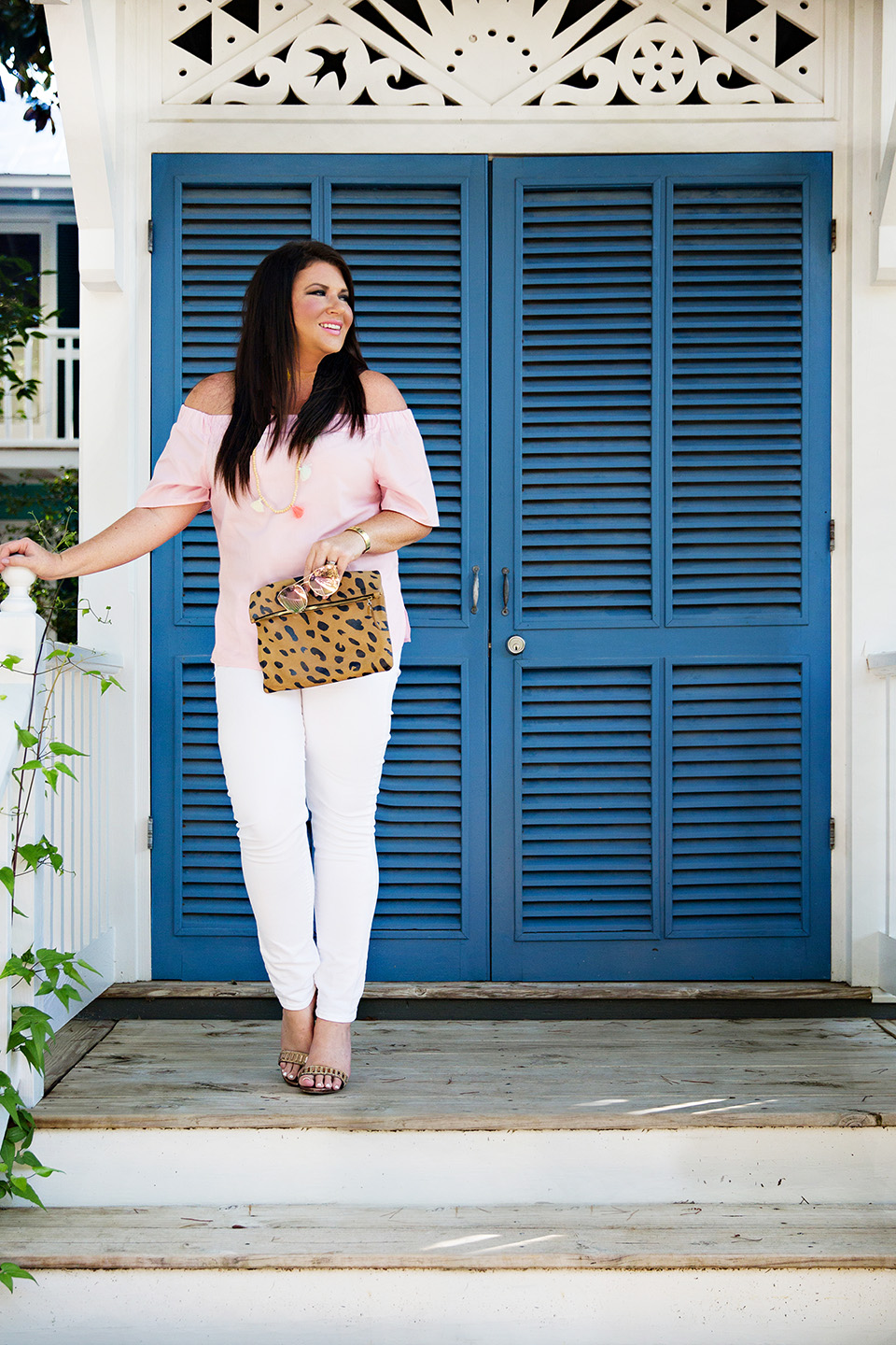 Jami Ray 30A Street Style White Jeans Pink Off the Shoulder Seaside Florida 3