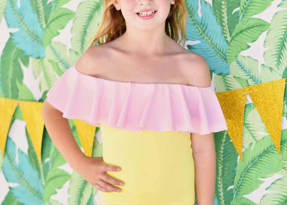 6th Birthday Flamingle - Stella Cove girls off the shoulder swimsuit