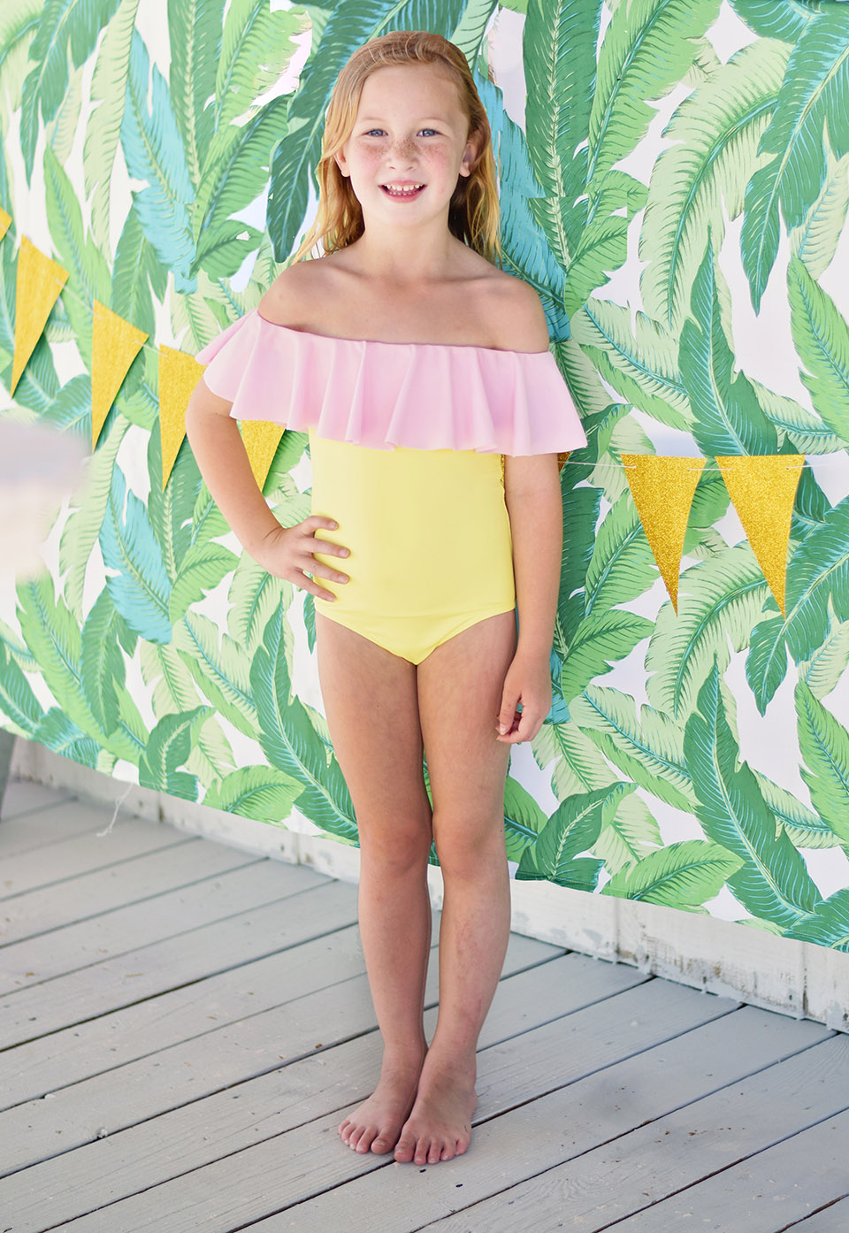 6th Birthday Flamingle - loving Emery's Stella Cove off the shoulder swimsuit