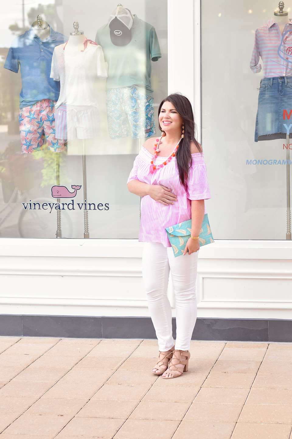 Jami Ray Grand Boulevard Vineyard Vines Stripe Top White Jeans