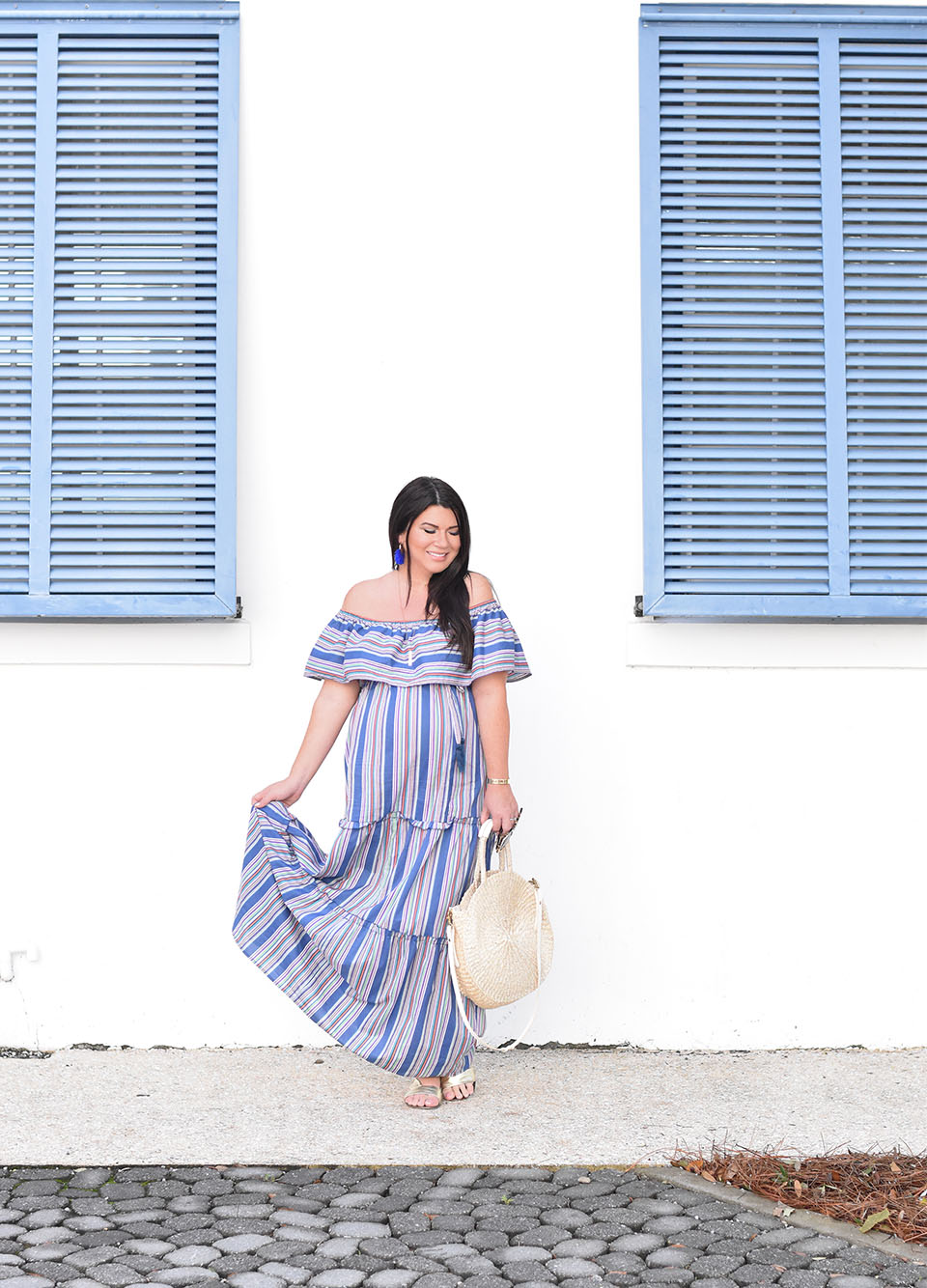 Blue Stripe Maxi Dress on 30A in Alys Beach