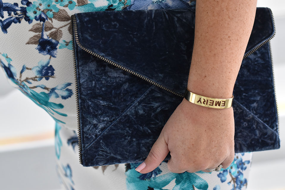 30A Mama Pinkblush Blue Floral Dress + Rebecca Minkoff Leo Clutch