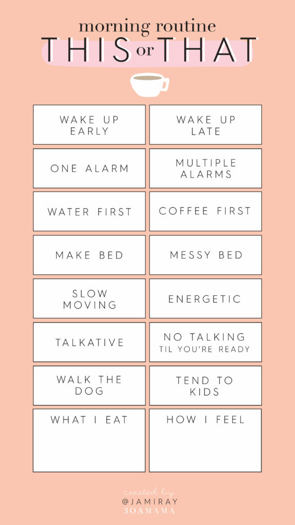 Instagram Story Templates Morning Routine
