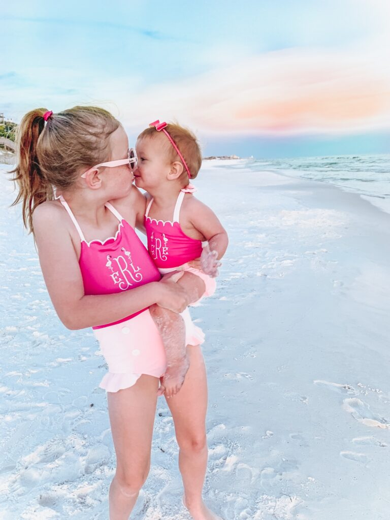 30A Mama - Blue Mountain Beach - Cecil & Lou - Girls Matching Monogram Swimsuits